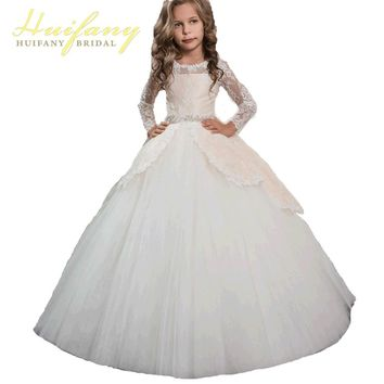 Princess Long Sleeves Lace Holy Communion Dresses Girls Pageant Ball Gown Flower  Girls Dreses Vestidos De Comunion