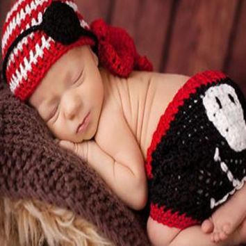 Cute Black Red and White Pirate Knit Outfit Baby Newborn Photo Prop - CCC280