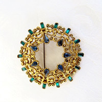 Florenza Filigree Brooch, Baguette Rhinestones, Aqua Blue and Cobalt, Vintage Designer Signed Jewelry