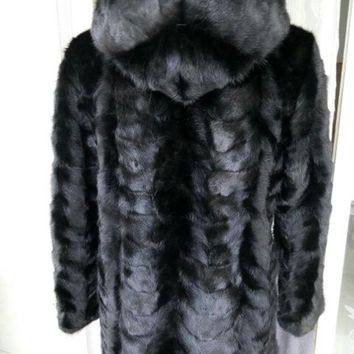 Real Piece mink fur coat with hood For Women Natural Mink Fur Jacket Outwear