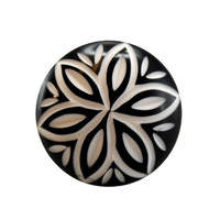 Black and White Modern Floral Cut Drawer Dresser Cupboard Pull Knob - 1.375-in