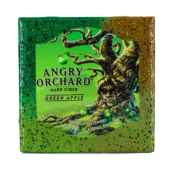 Angry Orchard - Green Apple - Handmade Recycled Tile Coaster