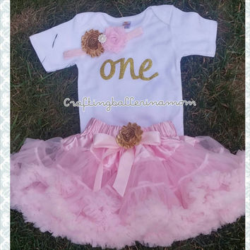 Birthday tutu -Girls First birthday Outfit -Pettiskirt -pink pettiskirt - first birthday- pink birthday outfit -gold and pink first birthday