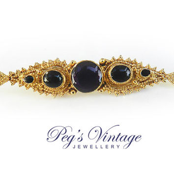Vintage, Victorian Style Bar Pin//Brooch Gold Tone Ornate Dark Purple Cabochon Glass