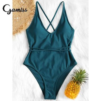 Gamiss Criss Cross High Leg Solid One Piece Swimwear Women Swimsuit Bathing Suit Bodysuit Brazilian Monokini Maillot De Bain