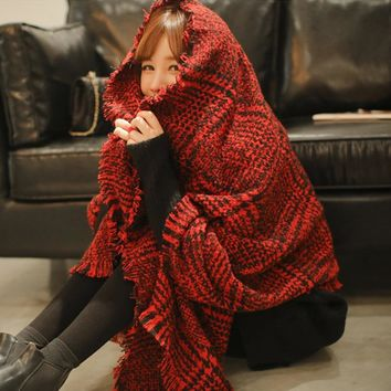 Autumn Winters  Thick Pashmina Cashmere Scarf  Warm Plaid British Style Tassel Wrap for Women and Girl  190*70