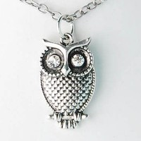 Crystal Eyes Antique Silver Tone Color Hoot Mister Owl Pendant Necklace
