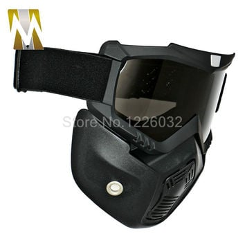 Motocross Goggles Glasses Face Dust Mask With Detachable Motorcycle Oculos Gafas And Mouth Filter For Open Face Vintage Helmets