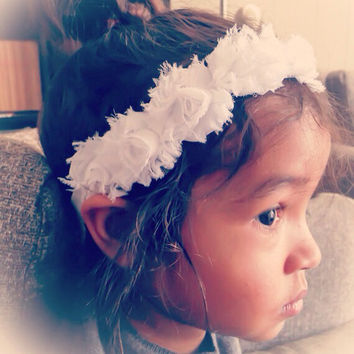 White Color Shabby Chic Fabric Flower Crown Headband, Baby Girl Crown Headband, Newborn Crown Headbands, Women Flower Crown Headband