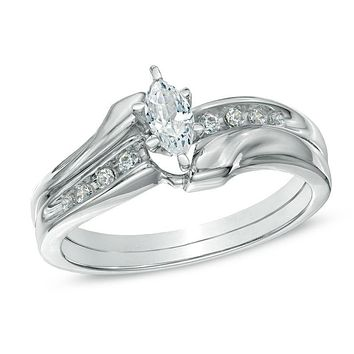 1/2 CT. Marquise Diamond Bypass Bridal Engagement Ring Set in 14K White Gold