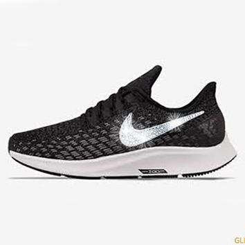 Nike Air Zoom Pegasus 35 + Crystals - Black Gunsmoke Oil Grey. 94495bac4e