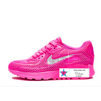 Rhinestone Women AIR Max 90 ULTRA Breathe Running Shoes Pink