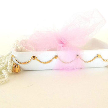 Vintage Soap Dish,  porcelain white china, gold swag garland trim, gold feet trinket tray, soap stand, Hollywood Regency vanity item