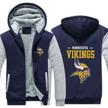 NFL American football Men's winter casual jacket Warm thicken hoodies Minnesota Vikings