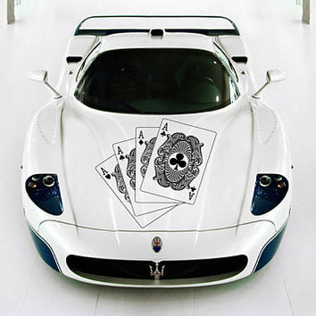 playing cards car hood decal four aces Car Decals quads playing cards Car Truck Side Body Graphics Decal for car kikcar127