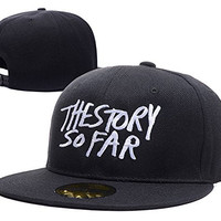 HAIHONG The Story So Far Logo Adjustable Snapback Caps Embroidery Hats - Black