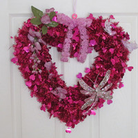 Fushia Pink Heart, Valentine Decoration, Glitter Hearts