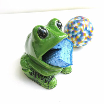 Best dish scrubber products on wanelo - Frog sponge holder kitchen sink ...