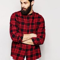 ASOS | ASOS Shirt In Long Sleeve With Mid Scale Check And Grandad Collar at ASOS