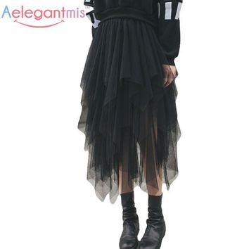 LMFET7 Aelegantmis Fashion Elastic High Waist Long Tulle Skirt Women Irregular Hem Mesh Tutu Skirt 2017 Spring Party Skirt Ladies