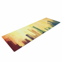 "Cvetelina Todorova ""Cloud City"" Yellow Purple Yoga Mat"