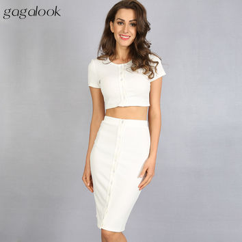 Gagalook  Brand Summer  Suits 2 Two Piece Crop Top and Skirt Set  White Midi Pencil Skirt Suit D0664