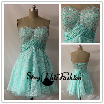 Beaded Aqua Short Strapless Empire Waist Lace Cover Lace Up Prom Dress