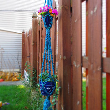 "Double macrame plant hanger, SAPPHIRE, 55"", 4 wood beads, blue, hanging planter, hanging basket, large, hippie, modern, gift, handmade, long"