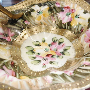 Antique Nippon Moriage Nappy Lemon Dish 1800s Victorian Hand Painted Porcelain Gold Beading Floral Flowers