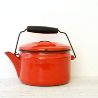 Tea Pot Red Enamel Metal Kettle