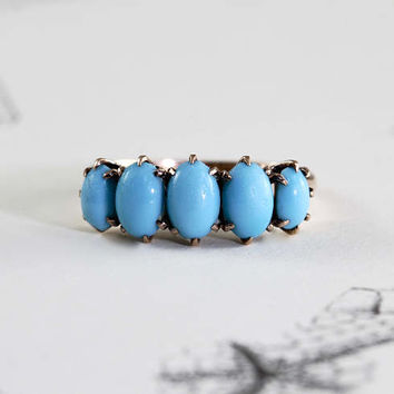 Antique Turquoise Ring, Victorian 10k Yellow Gold Five Stone Stacking Band, Alternative Engagement Ring, December Birthstone
