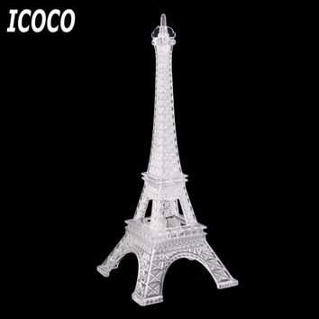 ICOCO Plastic Energy Saving Button Romantic Eiffel Tower Color Changing LED Night Light Bedroom Home Decoration YPHG-F115