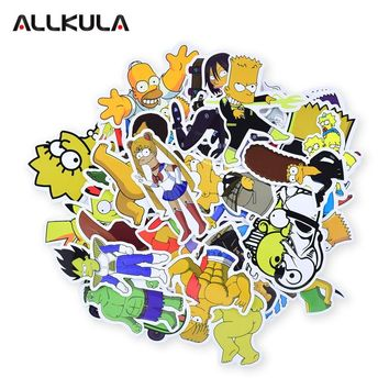 50pcs Simpson Stickers Funny Kids Toy Sticker for DIY Luggage Laptop Skateboard Motorcycle Phone Waterproof Sticker