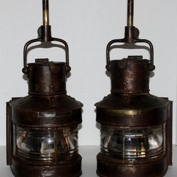 Vintage Antique Pair of Brass & Copper BEC Ships Masthead Oil Lamps #25A