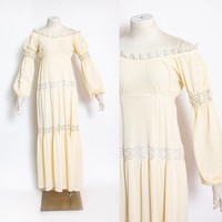 Vintage 1970s Nightgown - Cream Nylon Lace Slip Dress Off The Shoulder Embroidered Maxi  70s - Small S
