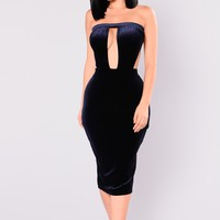 Donelle Velvet Dress - Navy