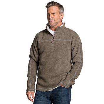 Bonded Vintage Cord 1/4 Zip Pullover in Brown by True Grit