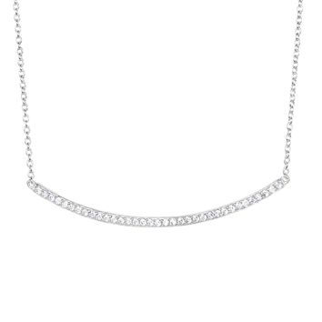 Silver Rhodium Finish 2.3-1.2mm Shiny Square T ube White Cubic Zirconia Rectangle Long Curve Bar Element Anchor On 1.2mm Cable Link Fancy Necklace