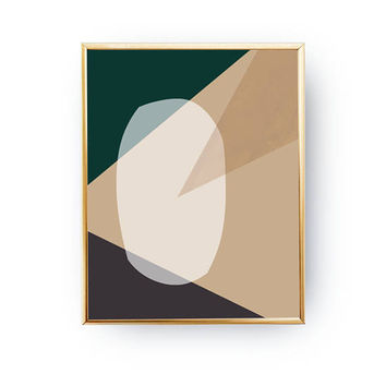 Green Brown Art, Abstract Shapes, Pastel Wall Art, Textured Shapes, Watercolor Print, Simple Art, Minimalist Poster, Geometric Textures