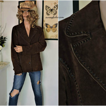 Retro Wilsons leather / suede jacket size M / L brown leather blazer jacket country western hippie boho rocker leather coat SunnyBohoVintage