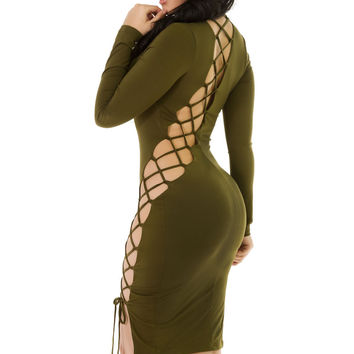 Back Off Dress- Army Green