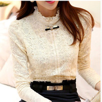 New 2014  Hot women tops Women Clothing  fashion Blusas Femininas Blouses & Shirts Fleece Women Crochet Blouse Lace Shirt 999