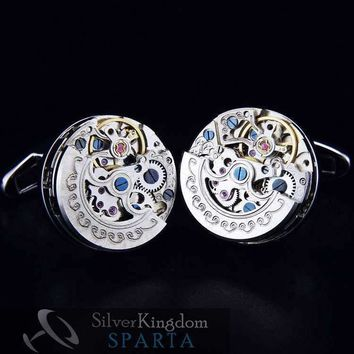 Limited Edition White Gold Electroplated New Mechanical Watch Core cufflink men's + Free Shipping !!! metal buttons