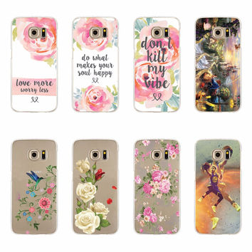 Rose Flowers Soft Phone Case Covers For Samsung Galaxy S3 S4 S5 mini S6 S7 Edge Plus Note 3 4 5 A3 A5 J5 J7 A310 A510 J510 J710