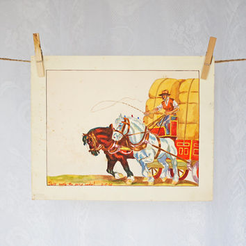 "ORIGINAL Watercolor Painting Nursery Decor 1930s Antique Horse & Coach with Farmer Art Print ""Don't make the going harder!"" child's painting"
