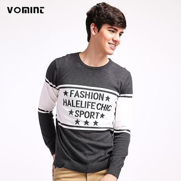 VOMINT 2017 Mens Pullovers Sweaters Big Stripe Letters Fashion Hello Life Print Cotton Basic Shirts H6RI6823