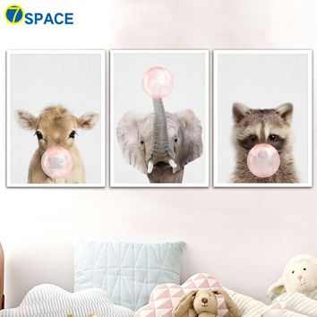 Animals Blowing Bubble Gum Cow Elephant Wall Art Canvas Painting Nordic Posters And Prints Decoration Pictures Kids Room Decor