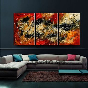 "Red Jackson Pollock Art 72"" Abstract painting on canvas, Original oil abstract art, Fine Art impressionist by Nandita Albright Fast Shipping"