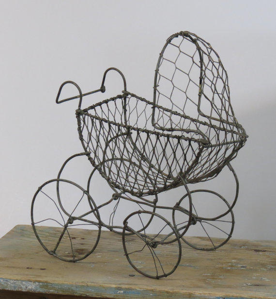 Wire Baby Carriage Basket On Wheels From 13th Street Emporium