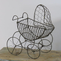 Wire Baby Carriage Basket on Wheels Vintage Photo Prop Shower Decor